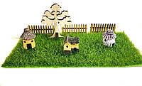 """Комплект миниатюрных декораций """"Домик в деревне"""" для муравьиной фермы (8 декораций)"""