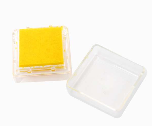 Штемпельная подушка с пигментным чернилом, Желтая, 2,5*2,5см, Heyda