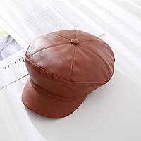 Модная кожаная женская кепи коричневого цвета