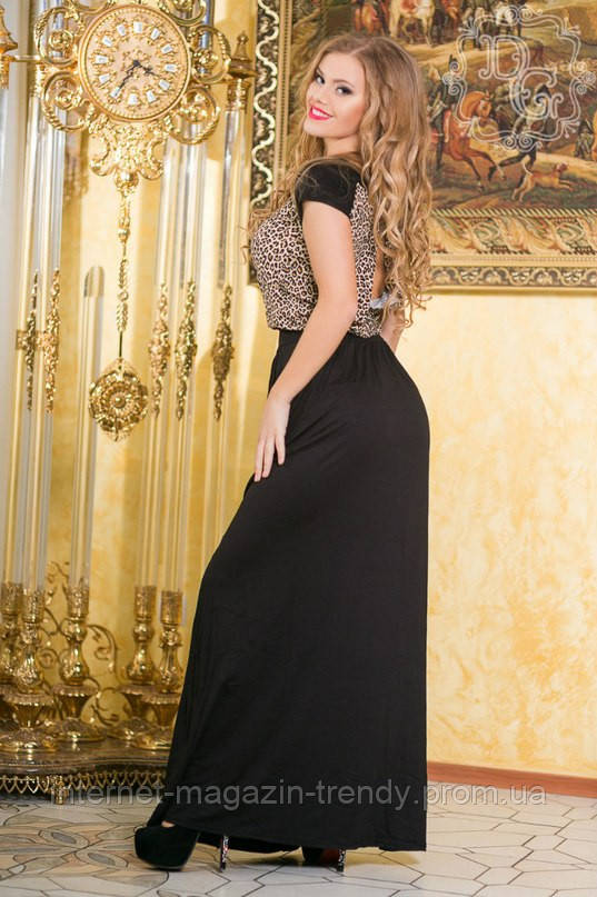 Длинное платье с верхом в леопардовом принтом прорезью на спине 996