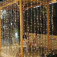 Уличная Гирлянда Штора Водопад 480 LED 3м*2м, Цвет желтый