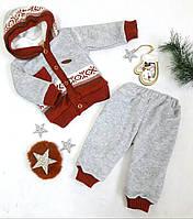 Костюм теплый на малыша, велюр, утепленный травка, размер 86, 92, серый+терракотовый, МАЛОМЕРИТ, фото 1