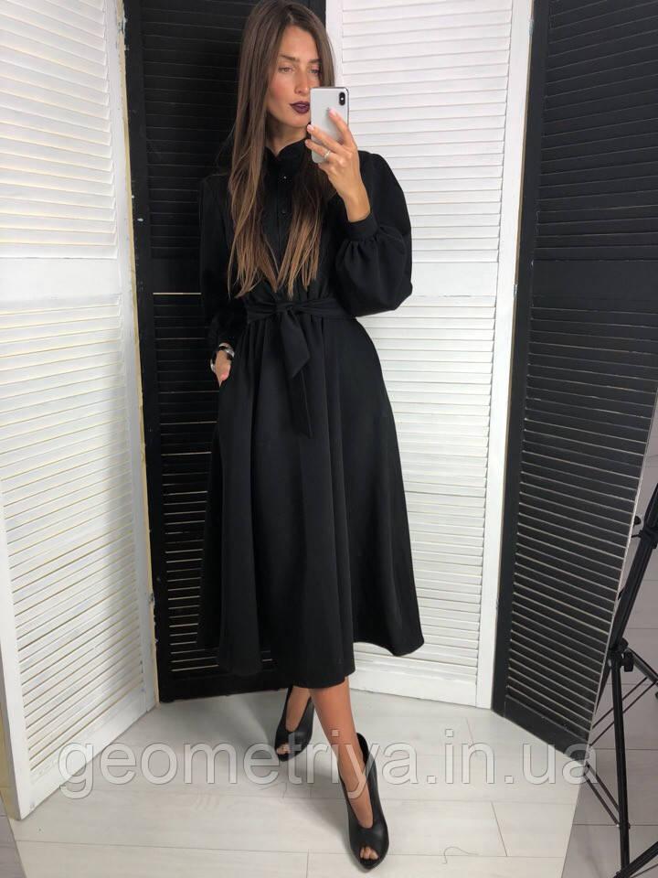 49daa58c8d4 Элегантное черное платье миди черного цвета  продажа