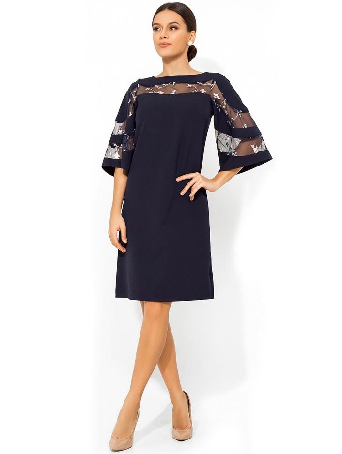 Темно-синее платье-трапеция с рукавами колокол Д-978