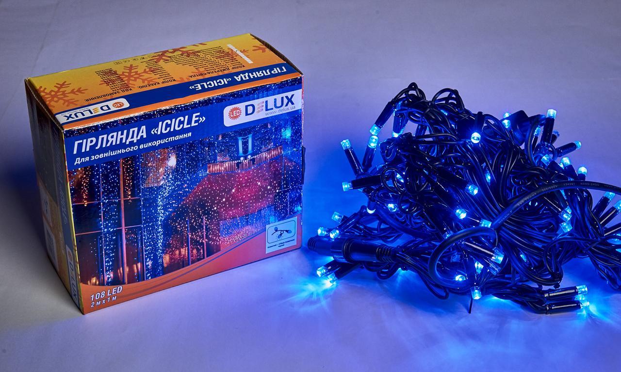 Вулична гірлянда DELUX є icicle 108LED 2x1m 27 flash синя/чорна IP44 EN
