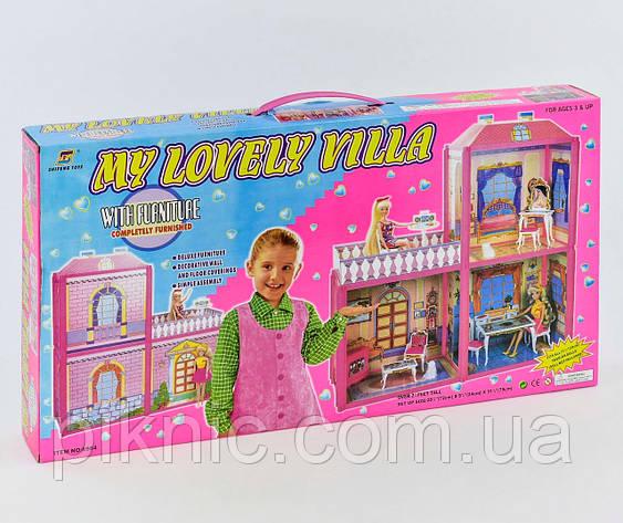 Домик для куклы двухэтажный. Кукольный дом игровой набор, подарок девочке, фото 2
