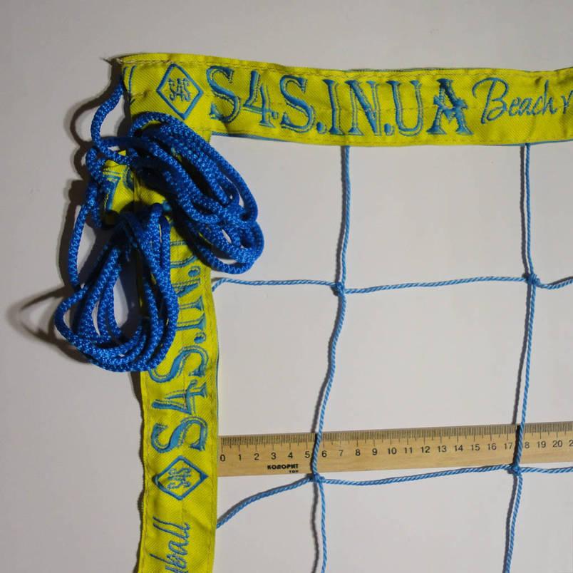 "Сетка для волейбола «БРЕНД 12 НОРМА» с надписями ""S4S.in.ua Beach volleyball"" сине-желтая, фото 2"