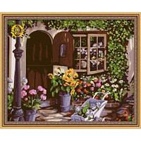 """Картина по номерам """"Уютный цветочный магазин"""" 40х50 см."""