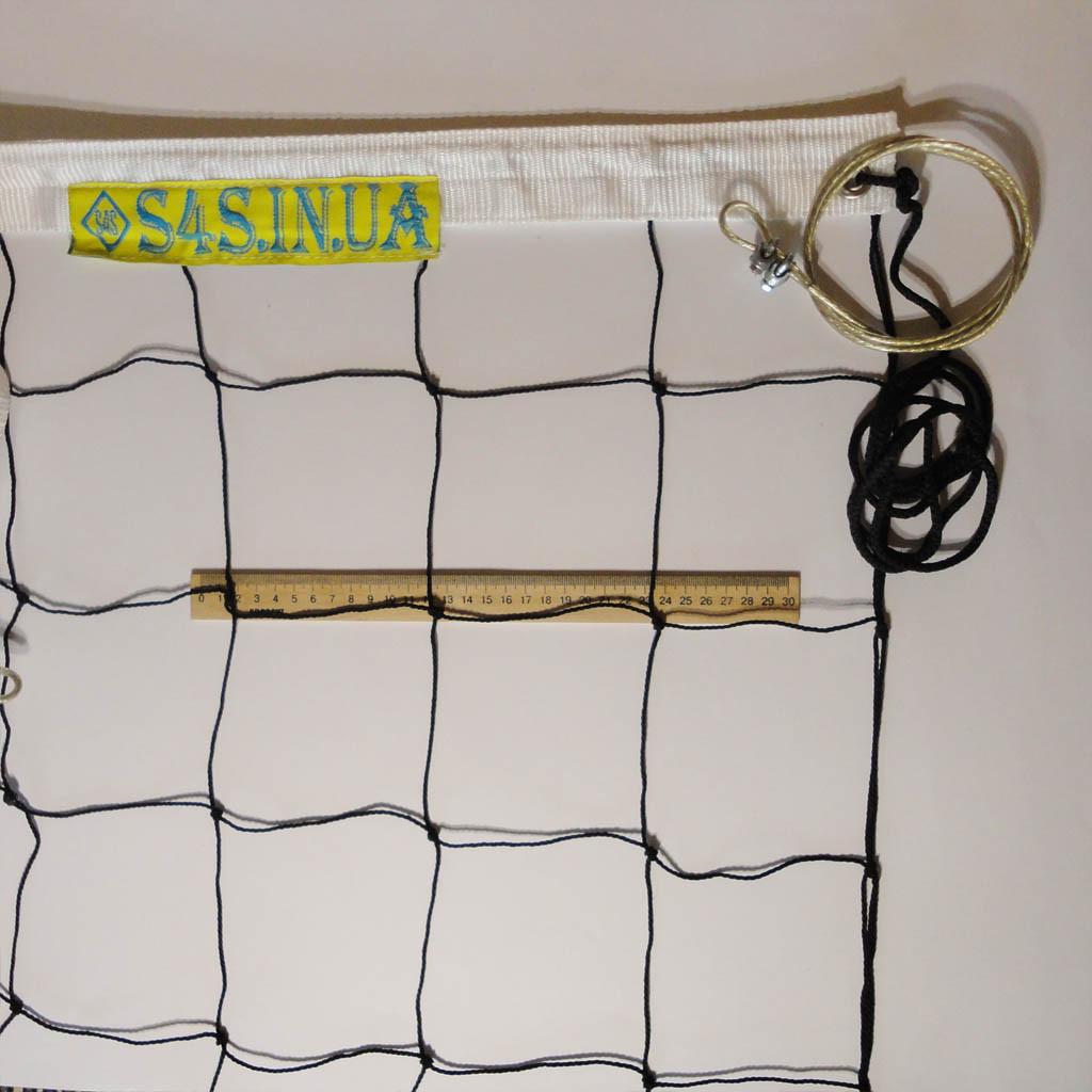 Сетка для волейбола «ПРЕМИУМ 12» с тросом черно-белая