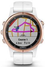 Смарт-годинник Garmin fenix 5S Plus Sapphire, Rose Gold-tone with Carrara White Band, фото 3