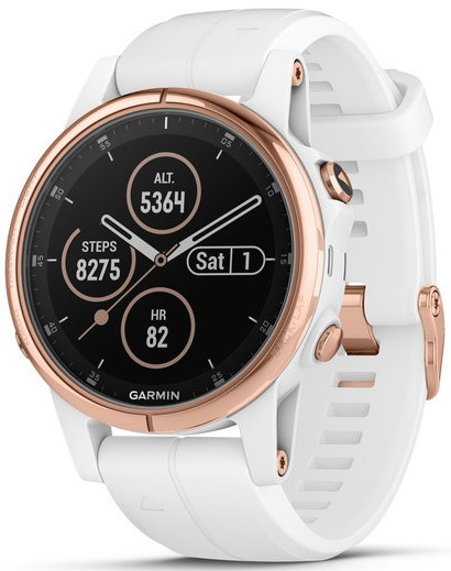 Смарт-годинник Garmin fenix 5S Plus Sapphire, Rose Gold-tone with Carrara White Band