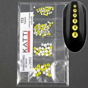 KATTi Стразы стекло в пакете 113 topaz ss3-ss10 100шт, фото 2