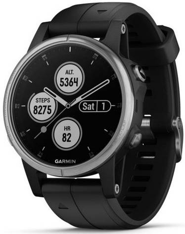 Смарт-годинник Garmin fenix 5S Plus Silver with Black Band, фото 2