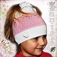 Детские трикотажные шапки со стразами