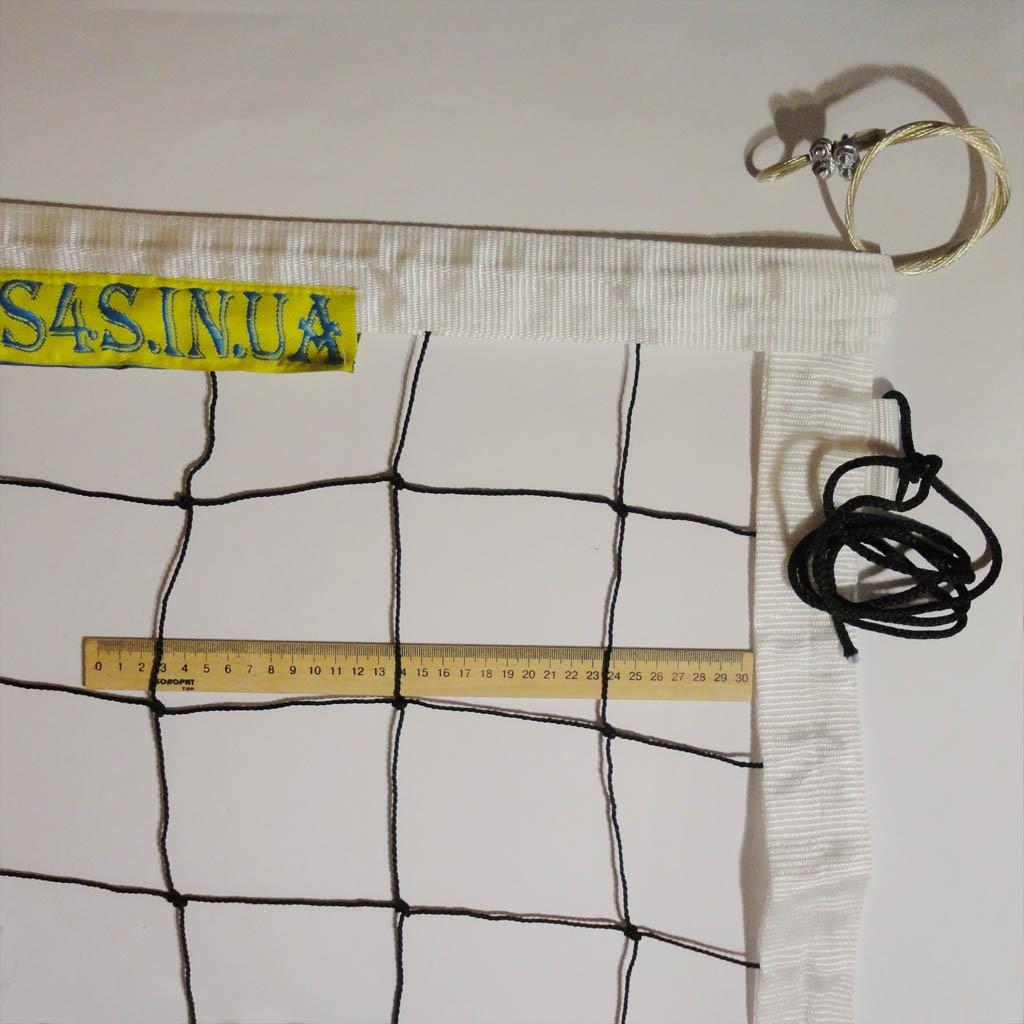 Сетка для волейбола «ПРЕМИУМ 10 НОРМА» с тросом черно-белая