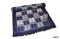 Синий теплый мужской кашемировый шарф в клетку