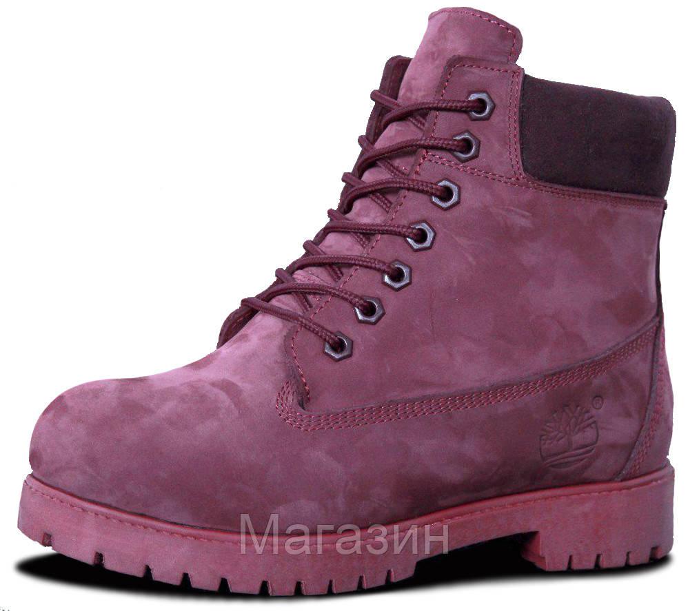 Женские зимние ботинки Timberland Winter Burgundy зима Тимберленды С МЕХОМ бордовые