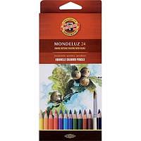 Карандаши цветные акварельные Mondeluz,  24 шт.