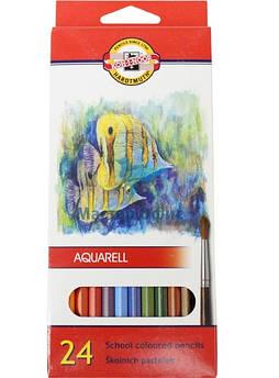 """Карандаши цветные акварельные Mondeluz """"Рыбки"""",  24 шт. (2,8мм)"""