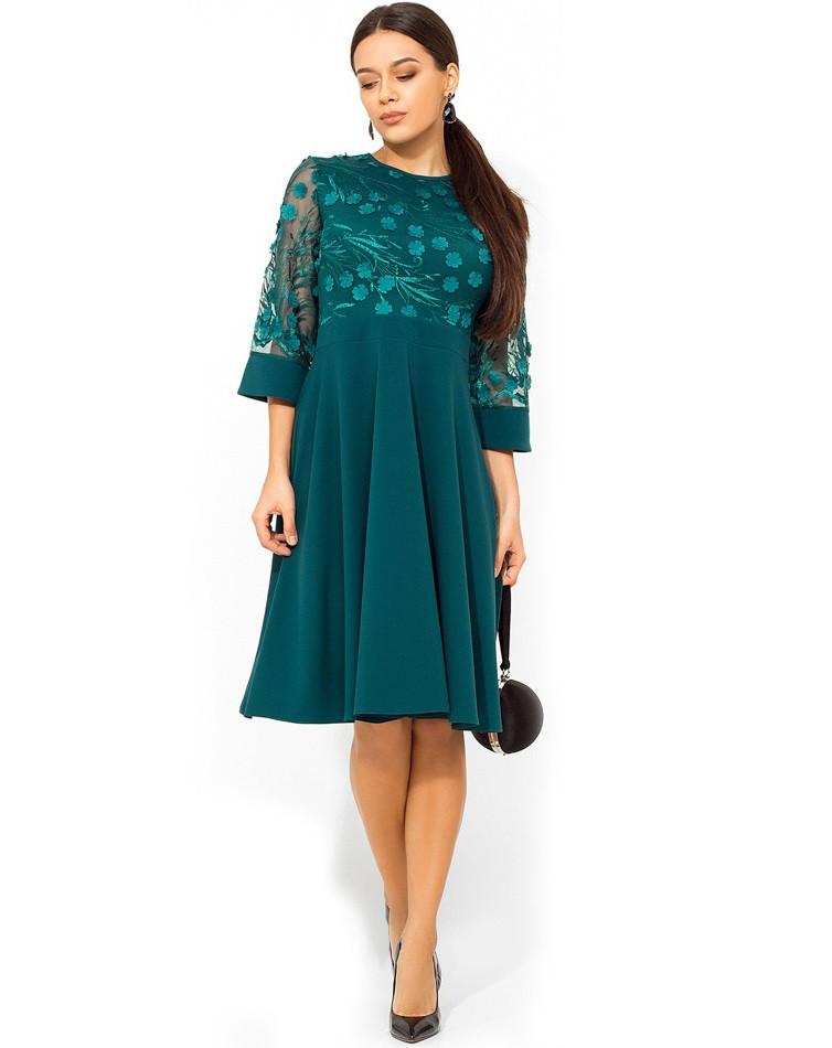 Изумрудное платье с верхом из сетки с лепестками Д-966