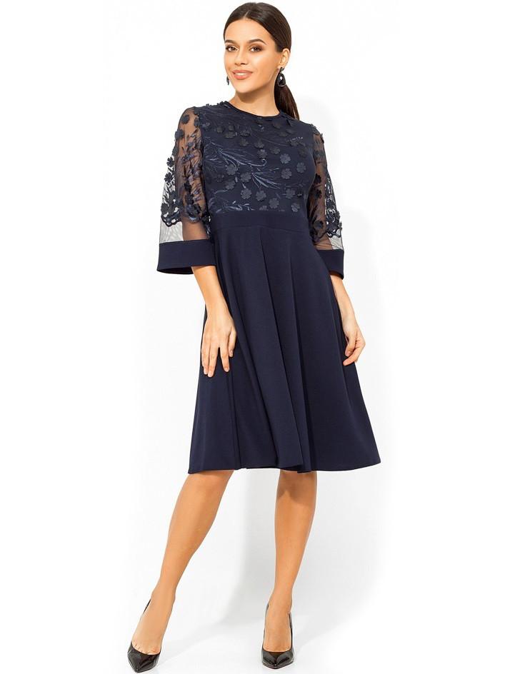 Емно-синее платье с верхом из сетки с лепестками Д-967