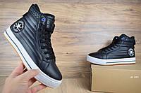 Мужские зимние кроссовки Converse высокие черные на белой Реплика