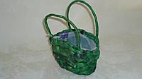 Корзина сумка плетеная зеленая