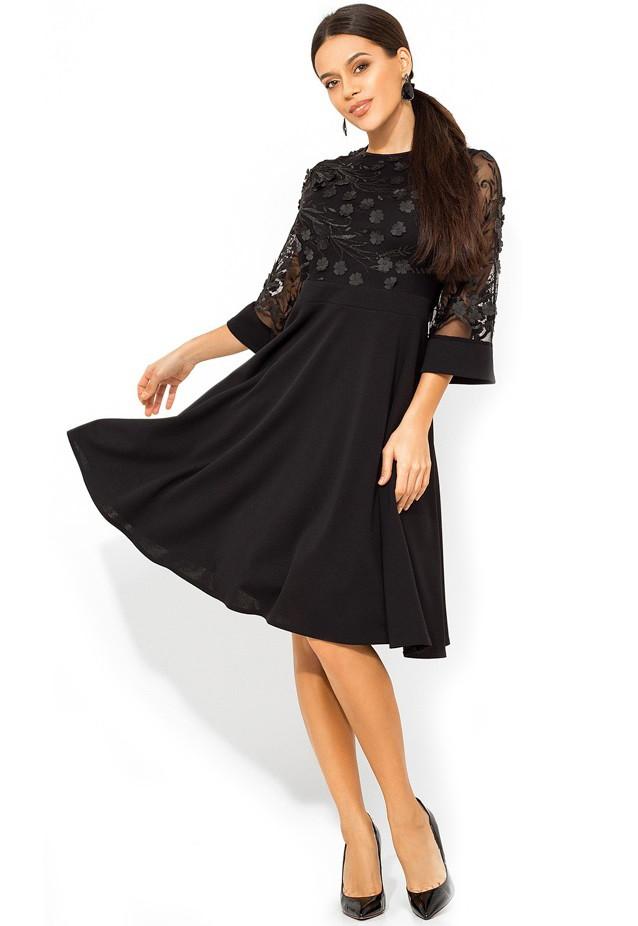 Черное платье с верхом из сетки с лепестками Д-964
