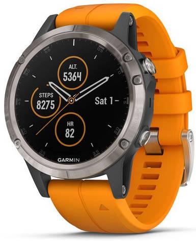 Смарт-годинник Garmin fenix 5 Plus Sapphire, Titanium with Solar Flare Orange Band, фото 2