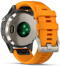 Смарт-годинник Garmin fenix 5 Plus Sapphire, Titanium with Solar Flare Orange Band, фото 3