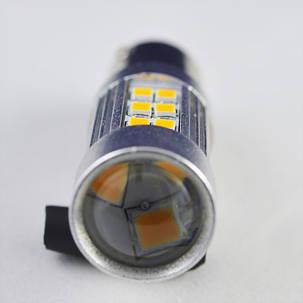 Светодиодная лампа SLP LED в сигнал указателя поворота с цоколем 1156(PY21W)(BAU15S) 27-2835 SMD Желтый , фото 2