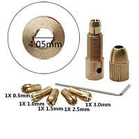 Патрон цанговый на вал 4.05 мм. зажим 0.5 мм. - 3.0 мм. + 5 цанг + ключ. Для  мини дрели, фото 1
