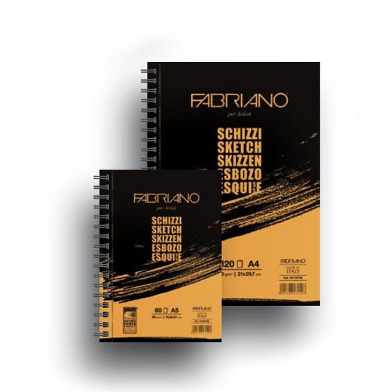 Альбом для эскизов на спирали Schizzi Sketch A5 (14,8x21 см), 90г/м2, 100л., Fabriano