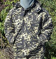 Куртка зимняя длинная тёмный Пиксель с капюшоном мех + синтепон р.48-58