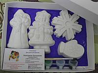 Новогодний набор гипсовых фигурок для творчества. Різдвяний набір гіпсових фігурок для творчості №31