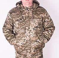 Куртка зимняя на резинке светлый Пиксель с капюшоном р.48-58