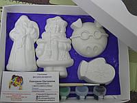 Новогодний набор гипсовых фигурок для творчества. Різдвяний набір гіпсових фігурок для творчості №32
