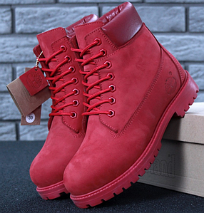 Женские Зимние ботинки Timberland Red, ботинки тимберленд красные, реплика