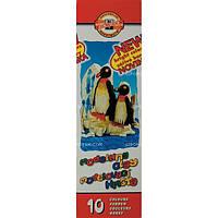 """Пластилин """"Пингвины"""",  стеки, карт.уп., 200г., 10 цв."""