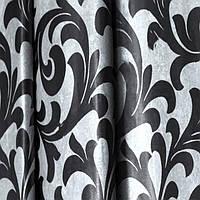 Шторы блэкаут Валенсия черный+серебро P-2990, ткань