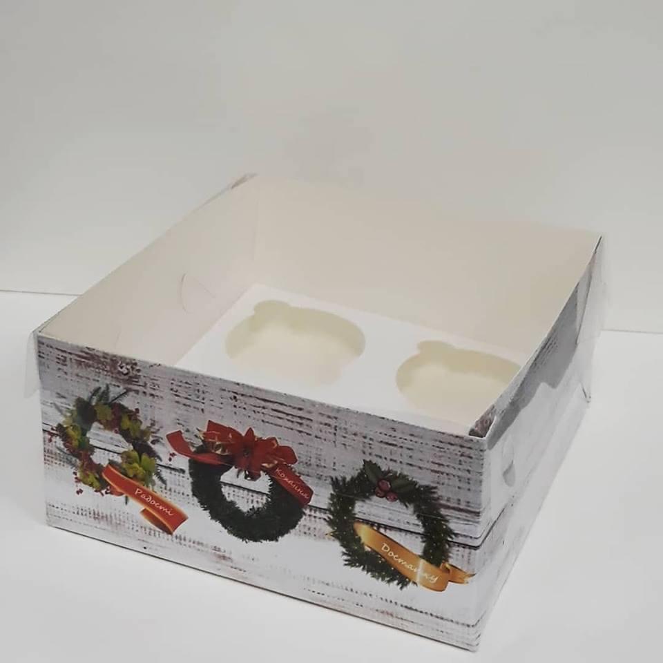 Коробка для маффинов  4шт с прозрачной крышкой 16*16*8 см, Галетте - 06573, фото 1