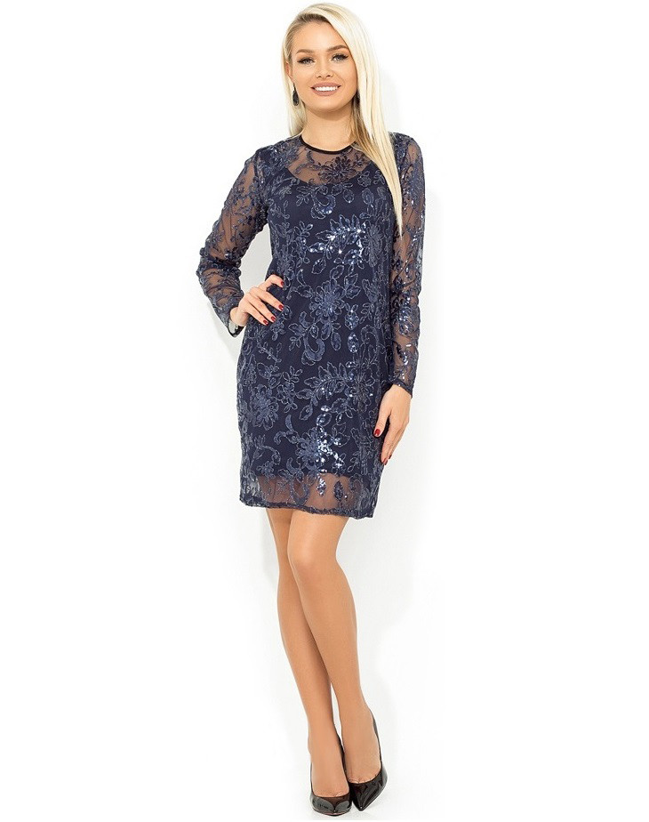 Темно-синее платье-двойка со съемной блестящей накидкой Д-986