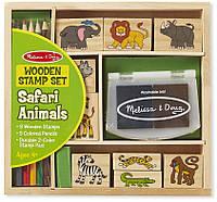 "Набор штампов ""Животные сафари"" (Wooden Stamp Set - Safari Animals, 9 шт.) ТМ Melissa & Doug MD8786"