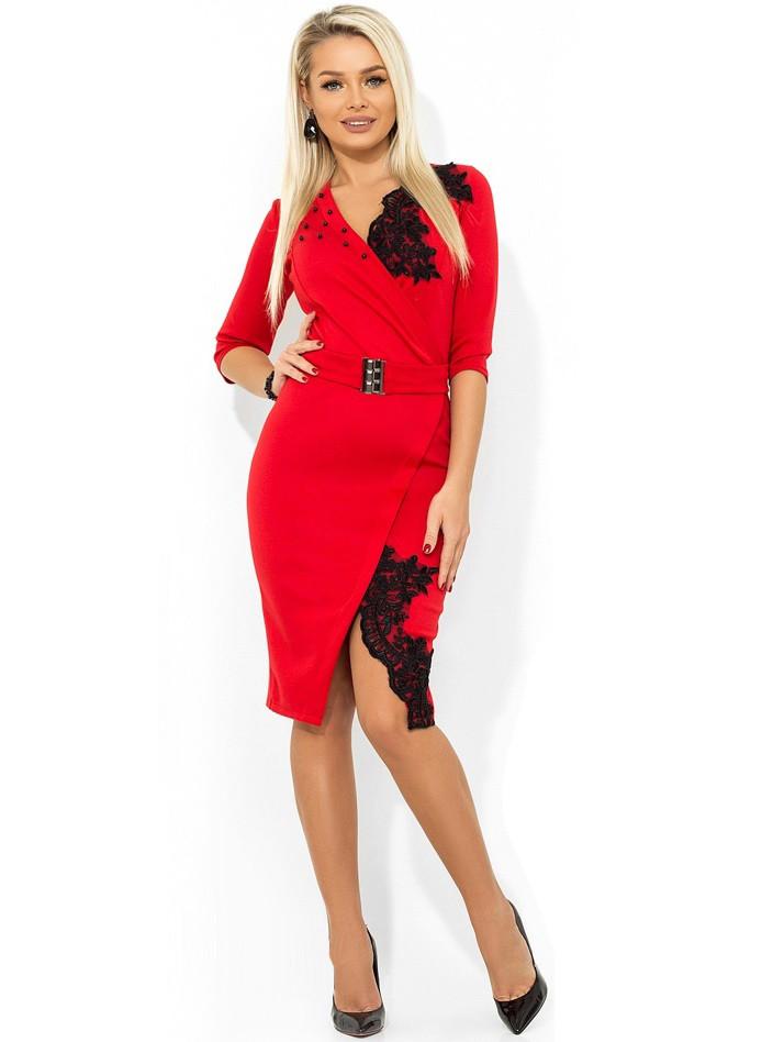 Платье из итальянского трикотажа красное Д-478