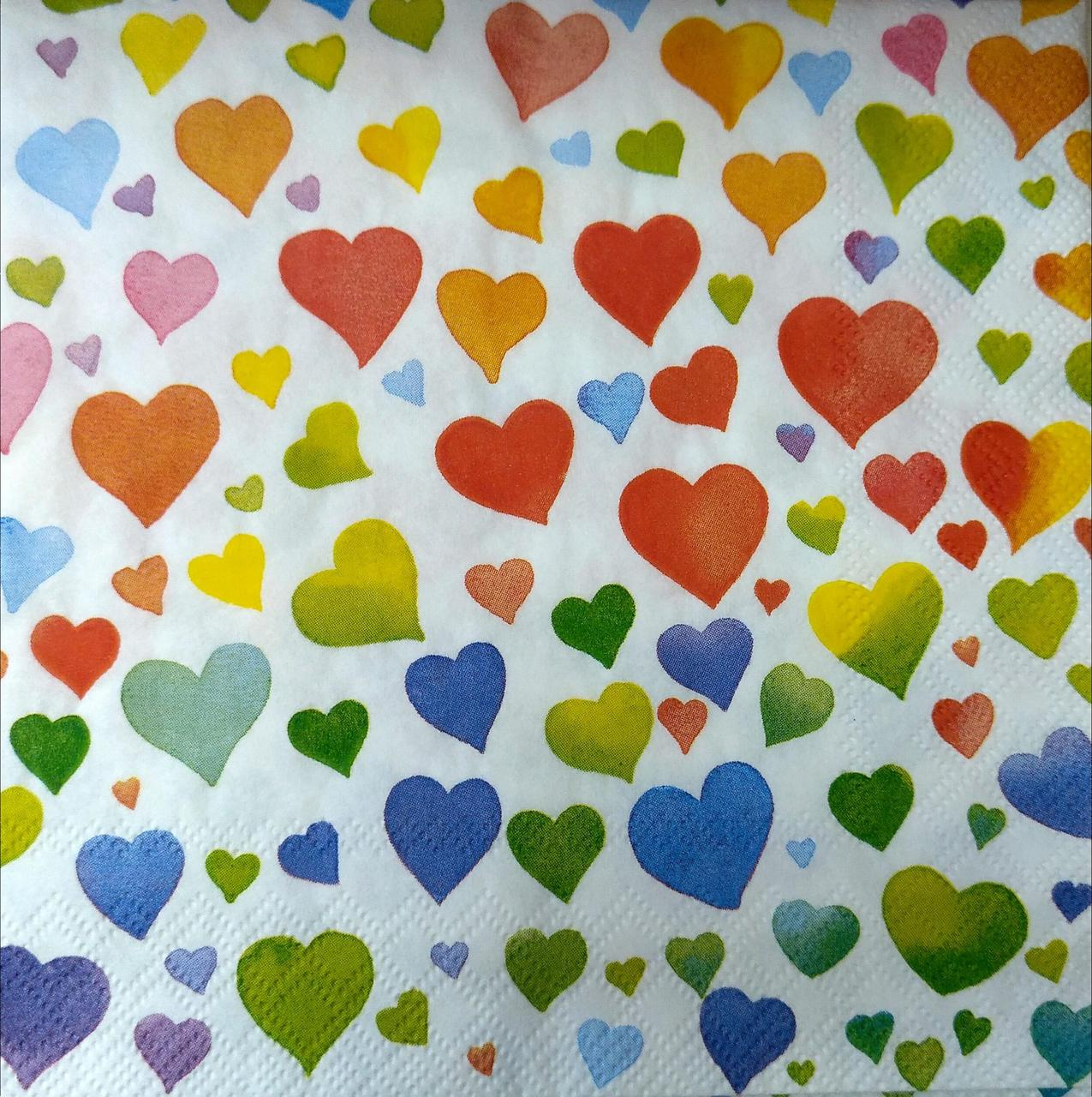 """Декупажные салфетки """"Акварельные цветные сердца"""", 33*33 см, 18,5 г/м2, Abiente"""