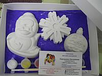 Новогодний набор гипсовых фигурок для творчества. Різдвяний набір гіпсових фігурок для творчості №34