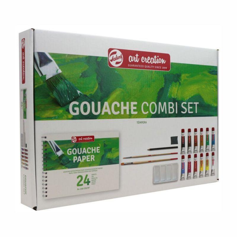Набор гуашевых красок, ArtCreation Combiset, 12*12мл, склейка А4, кисточки- 2шт, Royal Talens