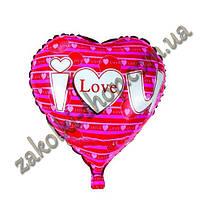 """Фольгированные воздушные шары, форма:сердце, """"I love you"""" 18 дюймов/45 см, 1 штука"""