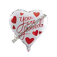"""Фольгированные воздушные шары, форма:сердце, """"You are loved"""" 18 дюймов/45 см, 1 штука"""