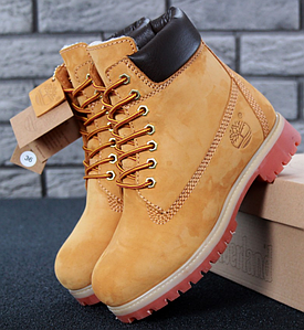 Мужские Зимние Ботинки Timberland 6 inch Yellow С МЕХОМ, ботинки Тимберленд, реплика